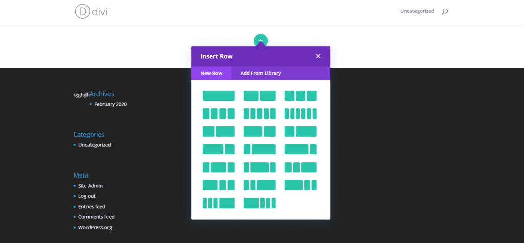 add new row in divi buidler
